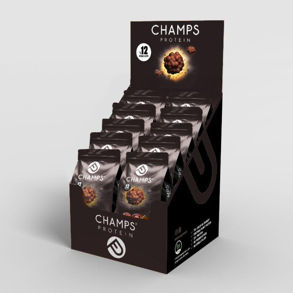 CHAMPS-אקסטרא אנרגיה 70% קקאו – טבעוני –  מארז 10 שקיות