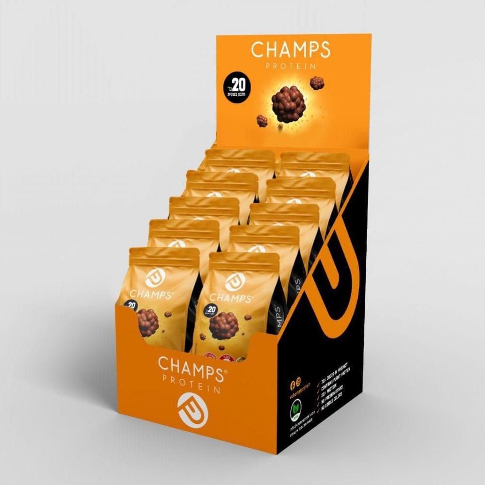 CHAMPS -קרם חמאת בוטנים 20 גרם חלבון למארז –  מארז 10 שקיות